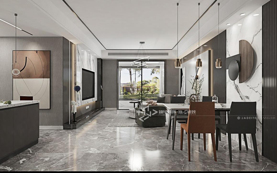 现代黑白灰风格-万达大公馆-三室两厅-147㎡装修实景效果图