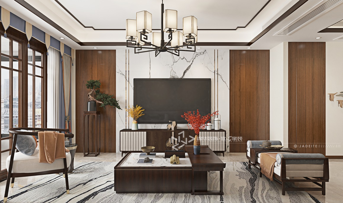 现代新中式-万达大公馆-三室两厅-147㎡装修实景效果图