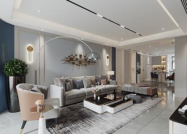 现代轻奢-万达大公馆-三室两厅-120㎡装修实景效果图