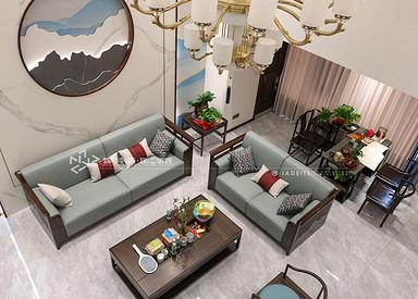 新中式风格-中海万锦园-四室两厅-180㎡装修实景效果图