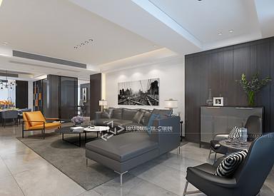 现代极简-钱江方洲-三室两厅-140㎡装修实景效果图