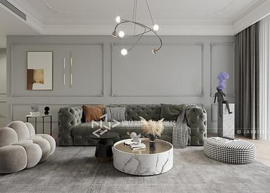 现代法式-香苑东园-三室两厅-120㎡装修实景效果图