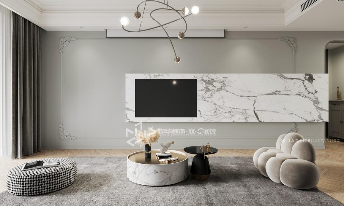 现代法式-香苑东园-三室两厅-120㎡装修实景效果图装修-三室两厅-法式