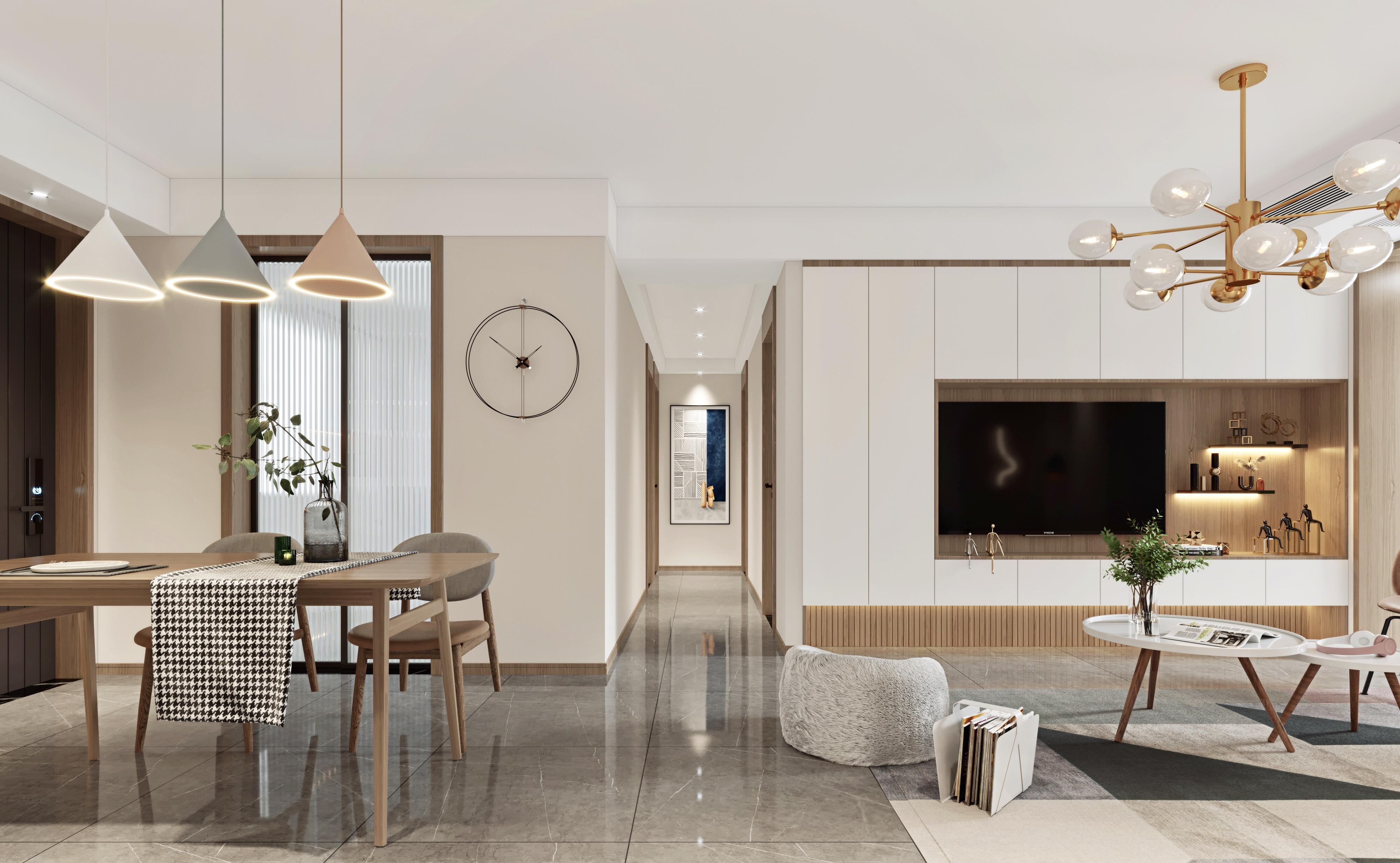现代北欧-中南十二期-三室两厅-110㎡-装修实景效果图