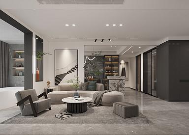 现代简约-森林红郡-三室两厅-138㎡装修实景效果图