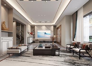 现代中式-悦隽时代-别墅-480㎡装修实景效果图