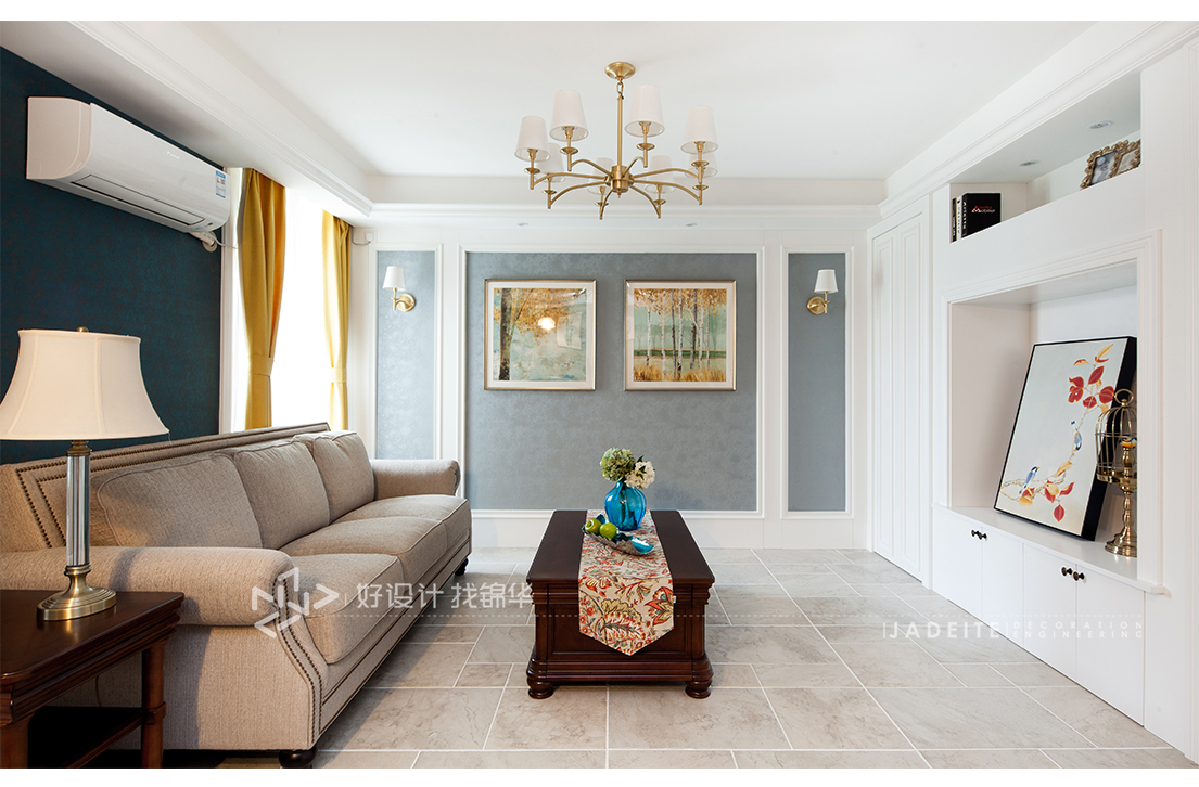 凤凰莱茵苑 100平米装修实景案例 简美风格图